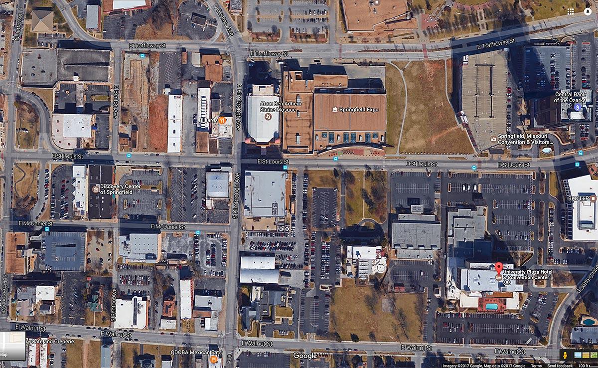 google map of university plaza area in springfield missouri