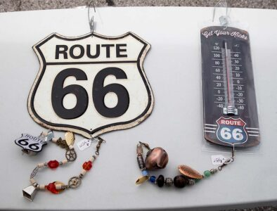 close up of route 66 themed hanging artwork