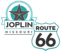 teal and black graphic of route 66 sheild sign and a star with the words, joplin missouri