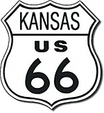black and white graphic of kansas u s 66 shield sign