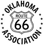 black and white route 66 shield sign with the words oklahoma association around it