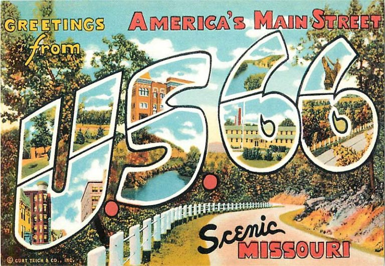 "vintage postcard reading ""greetings from america's main street, u s 66"""